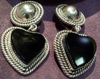 Sterling silver black onyx vintage clip on heart earrings