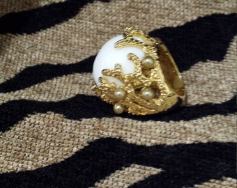 Gold toned Vermeil pearl shell ring