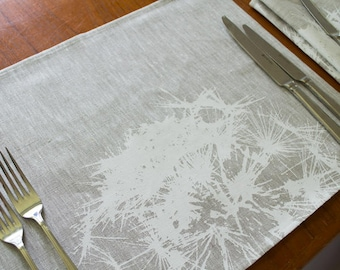 Set of 4 linen placemat with print of Dandelion in white. 100% linen dining table mats. Screen printed placemat set. Unique placemats.
