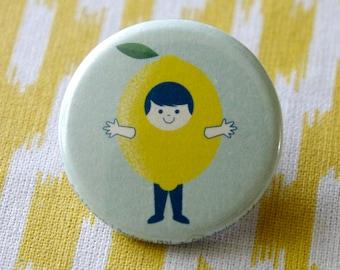 Badge child lemon, pine, lemon, accessory, boy, vintage style and retro, Scandinavian design, blue and red, ateliervudo vudo