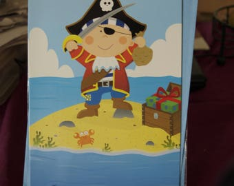 You're 6  Boy Dressed as a Pirate Birthday Card