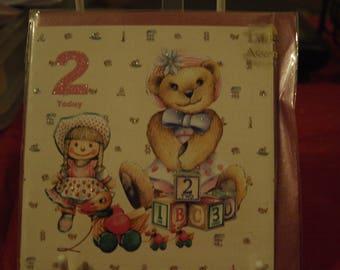 Girl Aged 2 Birthday Card with Teddy, Rag Doll