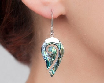 Abalone shell earrings with Sterling silver. Paua shell earrings.