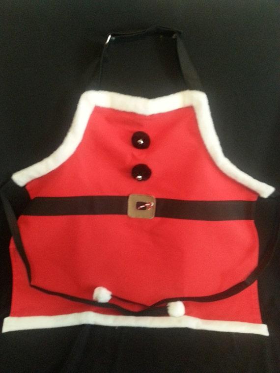 Handmade Santa Apron W/ Black Straps (full length )