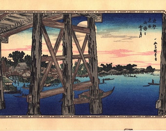 "Japanese Ukiyo-e Woodblock print, Ando Hiroshige ""Toto Meisho (Famous Places in the Eastern Capital )"""