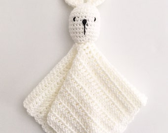 RUE Lovey Blanket, Baby Crochet Bunny Security Blanket, Stuffy Toy