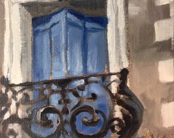 Door  – Montangac, original en plein air oil Painting by Canadian Artist Kindrie Grove