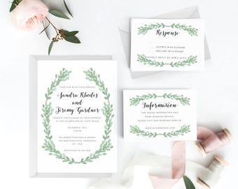 Botanical Wedding Invitation Suite, Wedding Invitation Printable, Invitation Set, Wedding Invitation Rustic, Letter or A4 (Item code: P762)