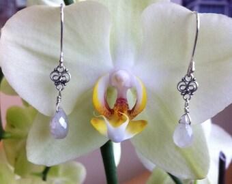 White Chalcedony Raindrop Earrings