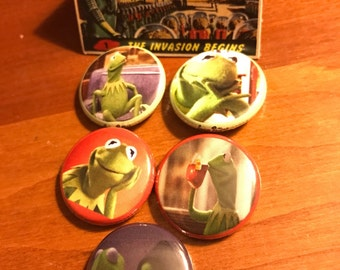 Kermit the Frog meme pins - 1 inch pinback buttons set of 5