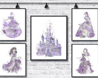 Disney Princess Watercolor Print, Disney Poster, Movie Art, Cinderella Aurora Ariel Belle, Nursery Art, Kids Room Decor, Purple Grey
