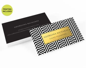 Chevron & Gold Printed business cards,personalized,business card design, business card printing,custom business card,black,gold,chevron