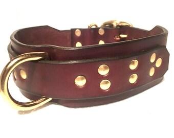 Atticus Collars, Big Dog Collar, Leather Dog Collar, Latigo,dog, pet,brass, nickel, custom, handcrafted, studs, metal spots, thick leather