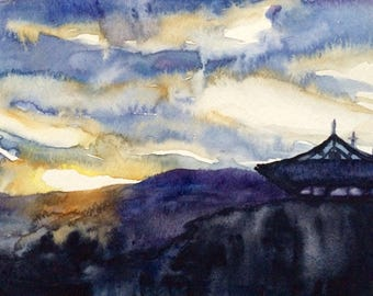 Cloud painting, Sky painting, sunset painting, cloud watercolor, Sky watercolor, landscape watercolor, landscape painting,original painting