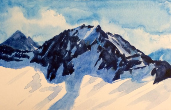 Mountain painting, Mountain top, North Cascades, Snowy mountain, mountain watercolor, Landscape watercolor, mountain range, Cascades