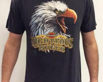 1985 Harley Davidson 3D Emblem Vintage Bald Eagle T shirt