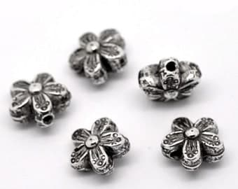 100Pcs Silver Tone Floral&Flower Spacer Beads 10x10mm