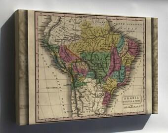 Canvas 24x36; Map Of Brazil, Bolivia & Peru 1829