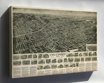 Canvas 16x24; Map Freeport Long Island New York 1925