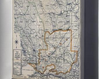 Canvas 16x24; Map Of Napa & Solano Counties, California 1913