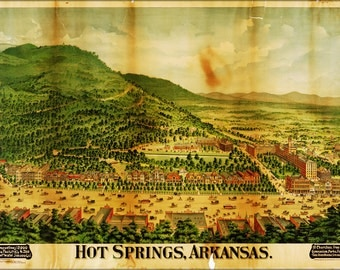 16x24 Poster; Map Of Hot Springs, Arkansas 1890