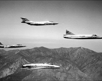 16x24 Poster; F-101 Voodoo F-104A Starfighter, F-102A Delta Dagger, Super Sabre