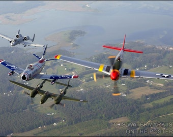 16x24 Poster; A-10 F-86 P-38 P-51 A-10 F-86 Sabre P-38 Lightning P-51 Mustang