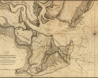 16x24 Poster; Map Of Charleston, South Carolina, 1780 (Check Other)