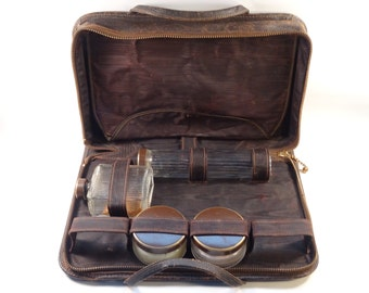 Leather Travel Case with Glass Bottles