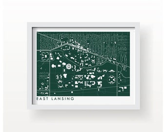 EAST LANSING MICHIGAN Map Print - graphic drawing art poster Michigan State Spartans