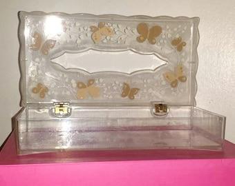 Vintage Lucite Tissue Box Cover,Lucite Tissue Box Cover,Wolff,Tissue Box Cover,Butterfly,Butterflies,Lucite,Retro Bathroom,Vanity,Shabby,MCM