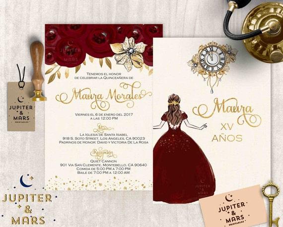 Gold burgundy quinceañera invitation quinceanera