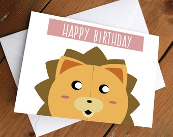 "KON - ""Happy Birthday"" card // bleach, bear, yellow, anime // birthday, thank you, love, cute card"
