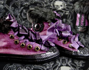 Chucks for Fiver: Victorian Gothic Purple Elegance Custom Painted Converse Sneakers by Kimberly Andert