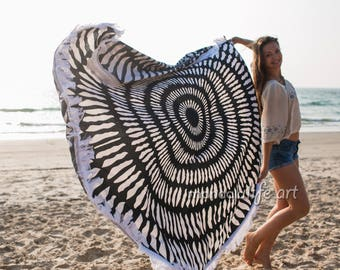 Mandala Tapestries Wall Hangings Boho Beach Throw Bohemian Beach Sheet Black White Roundie