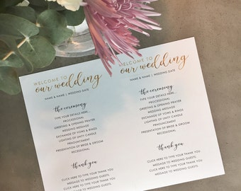 "Gold Foil Style Wedding Ceremony Program - PRINTABLE, Sized for 8.5x11"" Paper, 2 Programs Per Sheet, Front and Back"