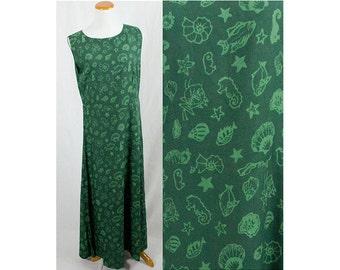 Vintage Green Batik Sea Life Dress!! Size M