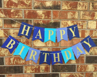Blue birthday banner, Happy Birthday Banner, Personalized birthday banner, First Birthday banner, Birthday banner boy, custom banner