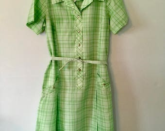 Vintage Two - Toned Green and White Checked Dress/Sears