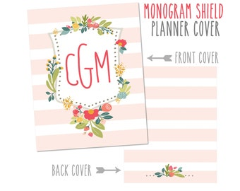 Personalized Planner Cover ~ Monogram Shield ~ Made to fit all Happy Planner, Erin Condren & Recollections Planners