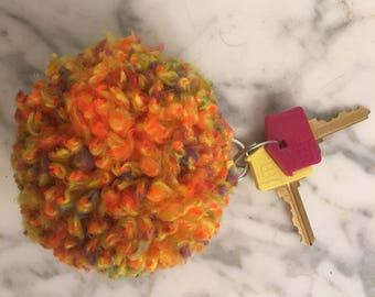 Orange Pom Pom keychain