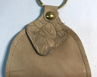 Keychain Vintage embossed zippered leather