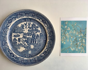 Willow Plate / Churchill Blue / Collectible / Made in England / Japanese Style