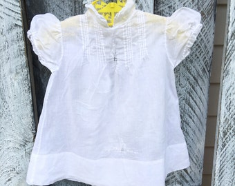 Baby Girls 6 month Thin Linen Dress with Eyelet Embroidery / Vintage Philipines