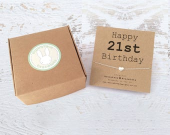 Sterling Silver Happy 21st Birthday Necklace with heart charm Daughter Niece Friend Cousin Sister Granddaughter keepsake card & giftbox gift