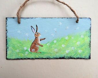 Painted Slate - Fairy Clocks and Hare