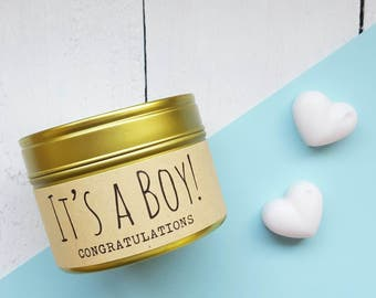 It's a Boy! - Soy wax candle tin - Handmade scented candle - new baby candle - new baby boy gift candle - baby powder scented -new baby gift