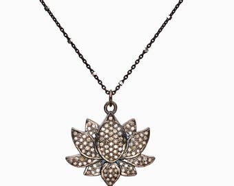 LOTUS necklace pave diamond lotus necklace genuine diamond oxidized sterling silver yoga jewelry gifts for her lotus pendant necklace