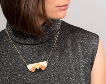 Necklace, graphic, geometric, in wood, minimalist, laser cut, black, white, golden, chain golden with fine gold - HÉLÈNE -