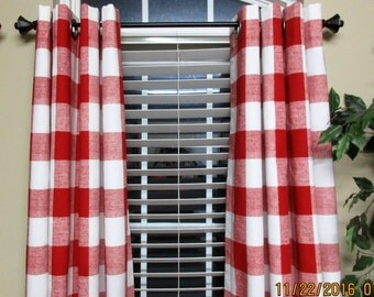 "Designer Drapery Panels/ 2 panels- 63"", 84"", 96"",108"" / 1 Pair of Window Curtains / Red/White Large Check"